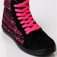 high top sneaker with lace overlay