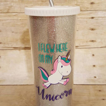 Unicorn glitter tumbler/water bottle/glitter cup
