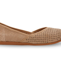 TOMS Taupe Suede Perforated Women's Jutti Flats Brown