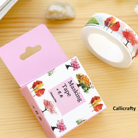 Colourful Trees Japanese Washi Tape, Masking Tape, Scrapbooking Stickers, Planner Stickers, Decorative Stickers - WT036
