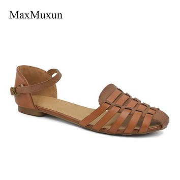 Fashion Online Maxmuxun Ladies Slingback Flat Sandals Women 2017 Summer Ankle Strap Closed Toe Sweet Gladiator Beach Sandals For Girls Shoes