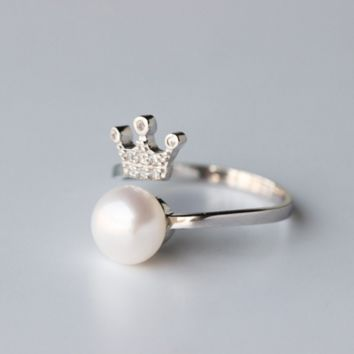 Fashion pearl crown 925 sterling silver ring, a perfect gift