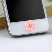 Cute Pink Rose Flower Phone Home Return Keys Buttons Sticker for Iphone 4s Iphone 5 Ipod Touch iPad iphone 5c 5s