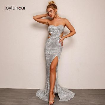 Joyfunear Mermaid Hollow Out Sequin Bodycon Women Dress Autumn Winter Elegant Maxi Dress Party Sexy Dresses Vestidos Mujer 2018