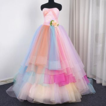 Candy Color Wedding Dress Strapless Ball Gown Colorful Tiered Beaded Bridal Gown