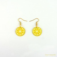 GIN FIZZ recycled CD earrings | Yellow lemon slices | Jewelry by Savousepate