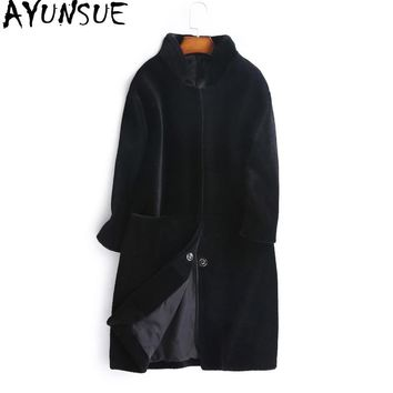 AYUNSUE Women's Fur Coat Natural Wool Female Jacket Sheep Shearling Coats Women 2018 Autumn Winter Long Trench Jackets WYQ1000