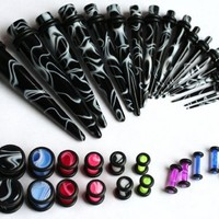 36pc Ear Stretching Kit Color Marble Plugs and Black Marble Tapers 00g 0g 2g 4g 6g 8g 10g 12g 14g Gauges Plus Instructions
