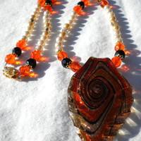 Autumn Fantasy Fashion Necklace- Orange black white and gold necklace- Nature Necklace- Fantasy Necklace- Fall Fashion Necklace