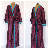 Vintage 1970s 80's Pink Purple Paisley Long Robe Lingerie Mood Setter Pin Up Girl Bridesmaid Gift sexy Boudoir Fashion Spring