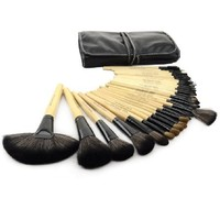 Roll up Case Cosmetic Brushes Kit 32 PCS Cosmetic Brushes Set with Pouch (Wood)