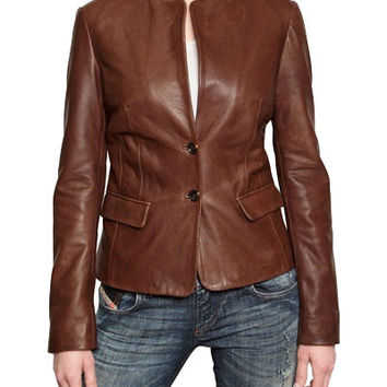 Women's Tan buttoned up leather jacket