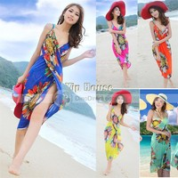 XDIAN Deep V Wrap Chiffon Swimwear Bikini Cover Up Sarong Beach Dress For Women Bohemian Dress - DinoDirect.com