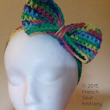 Crochet Multicolor Bow Headband - Crochet Headband - Crochet Bow - Bow Headband
