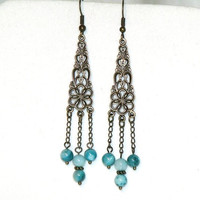 Long Dangling Boho Chic Chandelier Earrings in bronze and turquoise shell
