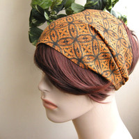 Bandana Headband Orange and Black Flower Circles Women's Head Wrap Elastic Hair Accessories