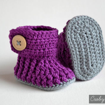 Crochet Pattern for Baby Booties - Violet Drops - Crochet Baby Shoes
