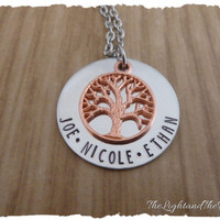 Personalized Hand Stamped Necklace - Mom Grandma - Gift for her - Tree of Life - Mother's Necklace - Grandmother Necklace - Baby Shower Gift