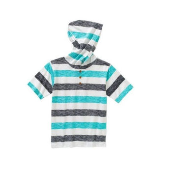 American Hawk Little Boys Striped Short Sleeve Henley with Hood, 5/6, Jade Strp