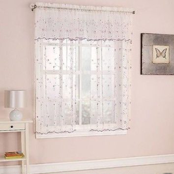 Girl's Bedroom Curtain Panel Pair With Embroidered Pink Flowers, Sequins & White Swirls