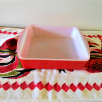 "Rare Red Glasbake 8x8 Casserole, Red Glasbake Square Baking Pan, Milk Glass Baker, Bright Red Brownie Pan, 8"" Mid Century Modern Baker"