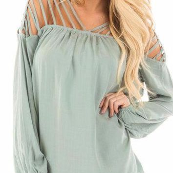 Green Lantern Sleeve Caged Hollow Out Square Neck Top