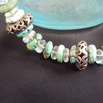Graduated Turquoise Necklace Sterling Silver Ooak Designer Crystals on a green wire Natural Turquoise Necklace Southwestern Vintage