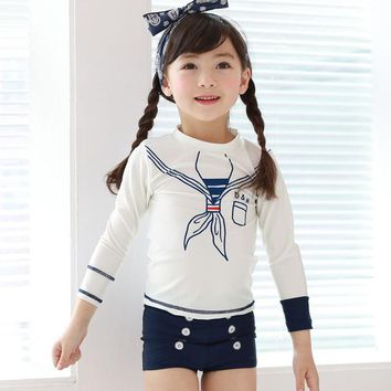 2017 New Long Sleeve Children swimsuit female baby kids girls swimwear cute sailor bathing suit free shipping