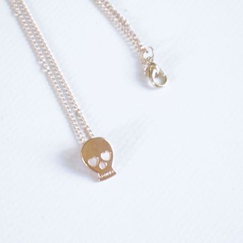 Gold Skull Necklace, Tiny Skull Charm Necklace, Skull Jewelry, Retro Steam Punk
