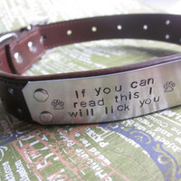 Custom Hand Stamped Brown Leather Dog Collar- Size Large (Pick your Phrase and Font)
