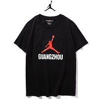 Jordan Summer New Fashion Letter Print Women Men Top T-Shirt Black