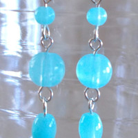 3 Tier Bright Turquoise Blue Glass Beaded Earrings, Handmade, Summer Color, Beach Inspired, Fashion Jewelry, Ladies Fashion, Simple Elegance