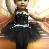 "American girl doll clothes ""Midnight Ballet"" (18 inch) leotard tutu ballet shoes toe shoes OOAK black and silver"
