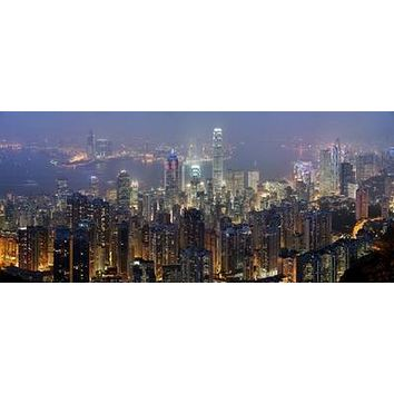 Hong Kong Skyline Art Photography poster Metal Sign Wall Art 8in x 12in