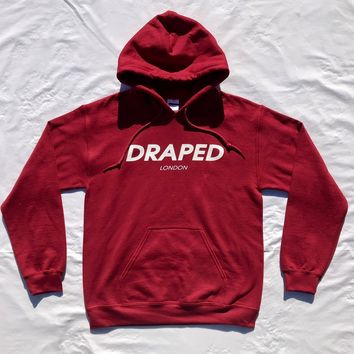 """Draped """"Fast Lane"""" burgundy hoodie- with white print unisex (normal adult fit)"""
