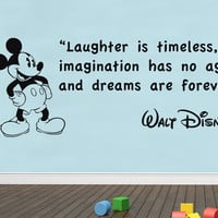 Laughter Is Timeless Walt Disney Quote Decal WALL STICKER Art Mickey Mouse SQ63