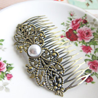 Hair Comb LOTR Head Piece Arwen Pearl Magical Lord of the Rings Elf Fairy Baroque Wedding Rococo Fantasy Pin Great Gatsby Bridesmaids
