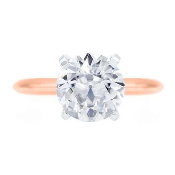 Old European Cut (OEC) Round Moissanite 14K or 18K Two-Tone Rose Gold Band and White Gold 4 Prongs Solitaire Ring