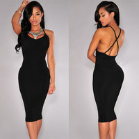 Black Halter Criss Cross Back Bodycon Midi Dress