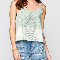 Full Tilt Ethnic Print Womens Dip Dye Tank Mint  In Sizes