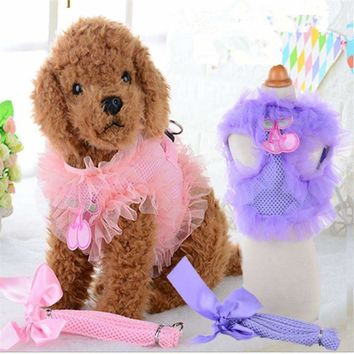Cute Lace Pet Dog Harness Set Leads For Small Dogs Cats Designer Wing breast-band Dog collars leashes Pet Accessories