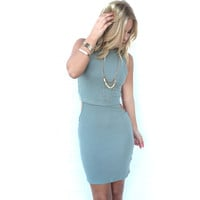 Side Swipe Ribbed Dress In Olive