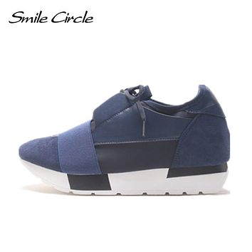 Smile Circle Spring Autumn Shoes Women Fashion Pointed toe Lace-up Sneakers For Women Flat Casual Platform Shoes tenis feminino