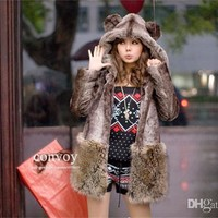 Fashion Womens little bear Hooded Ears Tail Topwear Faux rex rabbit fur & Faux fox fur Coat Free shipping Plus Size S 2XL WT17-in Fur & Faux Fur from Women's Clothing & Accessories on Aliexpress.com | Alibaba Group