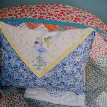 Decorative Pillow Accent Pillow Embroidered Handkerchief  Blue and Yellow Flowers