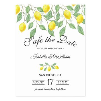 Modern Lemon Summer Save the Date Wedding Postcard