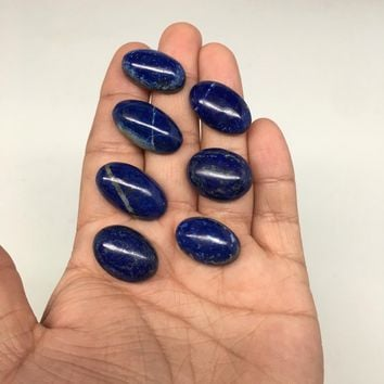 "7pcs,31.9g,0.8""-1""Natural Lapis Lazuli Oval Shape Cabochons @Afghanistan,CP70"