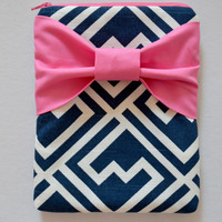 iPad Mini Sleeve iPad Mini Case iPad Mini Cover iPad Mini 7.9 Kindle Nook Zippered Navy and White Pattern with Pink Bow