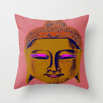 Brown Buddha Throw Pillow by Aloke Design