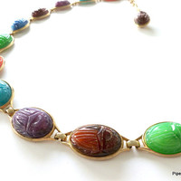 Egyptian Revival Scarab Belt 1950-1960's Molded Plastic Scarab Multic-colored Chain Belt